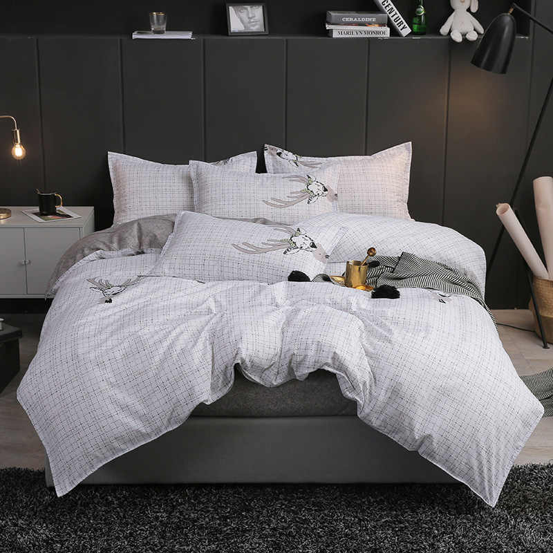 UNIHOME Luxury  ZFull/Queen Duvet cover set 300 thread count fiber reactive prints bedding set XINDONG