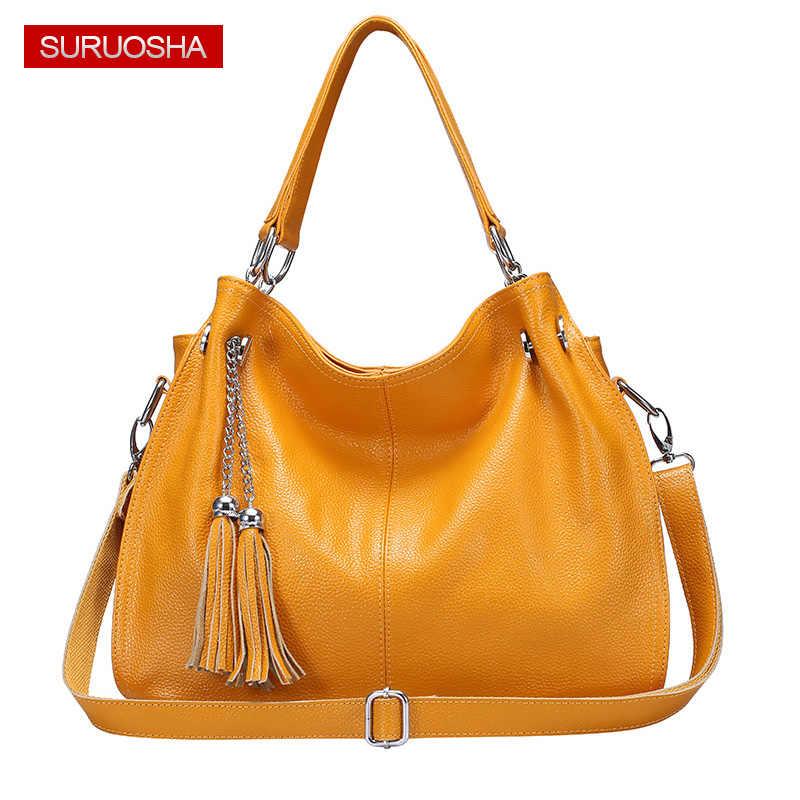 d220fcdfb72d SURUOSHA Amazon желтый Для женщин из натуральной кожи сумка-хобо Женский Натуральная  кожа Сумочка Роскошные