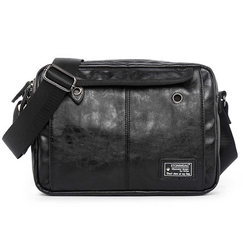 Detail Feedback Questions about Casual Men Waterproof School Messenger Bag  With Headphone Hole Leather Black Fashion Men Travel Double Pocket Man  Shoulder ... bc0b3388f0781