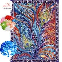 GoldenPanno рукоделие сделай сам бисер вышивка крестиком перо Точная печать Цветы Узор крестиком ing 912