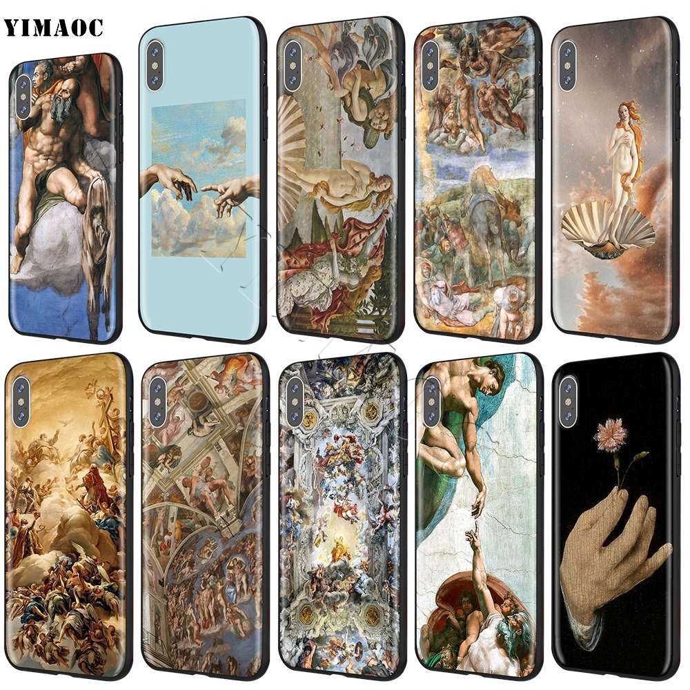 YIMAOC Michelangelo The Creation of Adam Soft Silicone Case for iPhone 11 Pro XS Max XR X 8 7 6 6S Plus 5 5s se