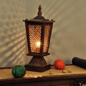 תאורת בית בסגנון תאילנדי חדר השינה סלון מנורת שולחן מנורת שולחן מנורה שליד המיטה במבוק במבוק חם רטרו TA9185
