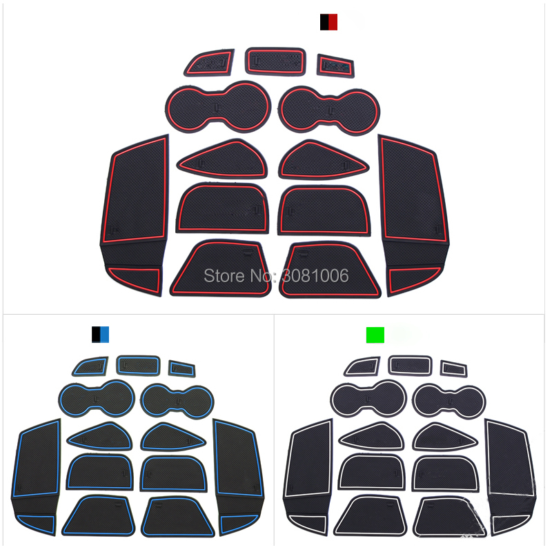 13Pcs/set For Ford Focus 3 2012 2013 2014 LHD With Logo In Car Stickers Car Door Groove Mat Gate Slot Pad Latex Anti Non Slip 16pcs anti non slip with words in car stickers interior door cup gate slot mat pad groove mat for mazda cx 7 cx7 car styling