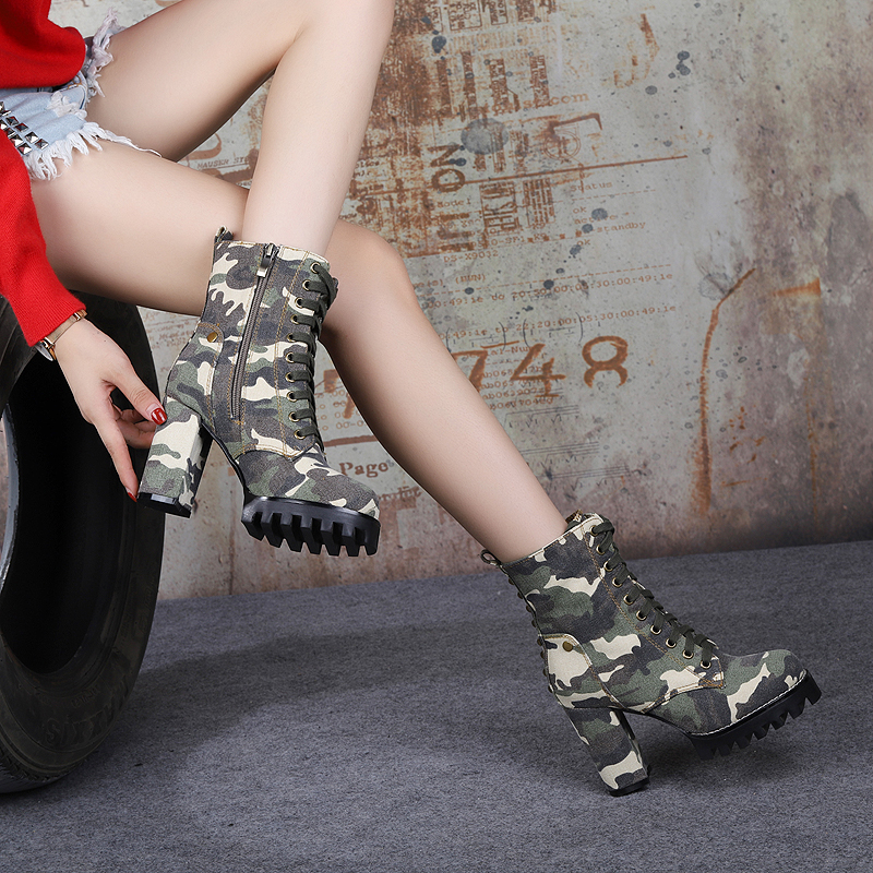 Rivets Studded Desinger Shoes Fashion Armygreen Mix Colors Ankle Boots Cross-Tied 9.5cm Square Heel Cowgirl Boots Botines Mujer