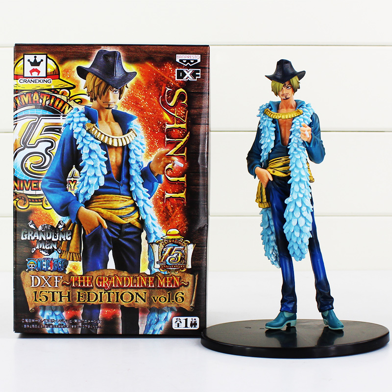 Anime One Piece Sanji Figure Toy 15th Edition vo1.6 PVC Action Figures Collrctible Model Doll Toys 7 18CM black leg sanji japan anime one piece action figure fire battle version 16cm pvc model toy with box collection doll toys f2722