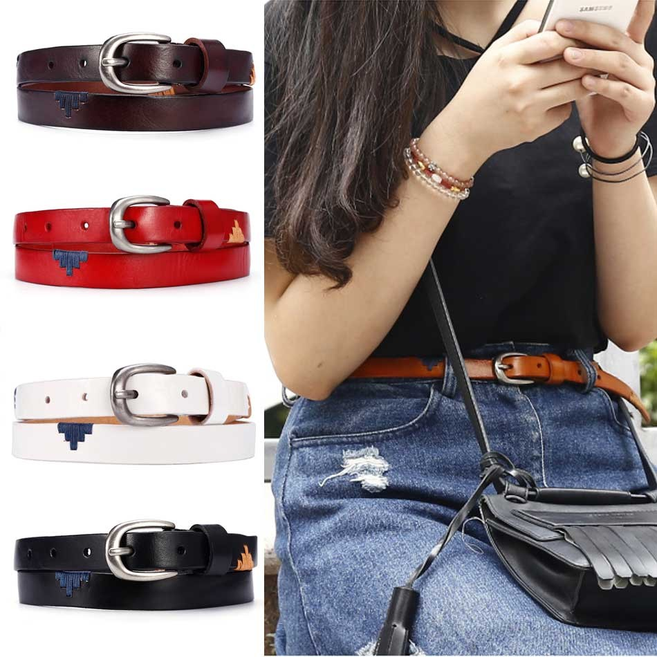 CATELLES Genuine Leather Belt  For Women Handmade Strap Dress Designer Female Belts Woman Girls Fashion Casual Accessories (1)