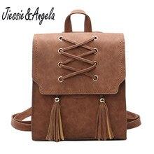 Jiessie & Angela в винтажном стиле, украшенные кисточками женские рюкзак плеча Сумки клапаном Рюкзаки для девочек-подростков Высокое качество PU кожаный рюкзак