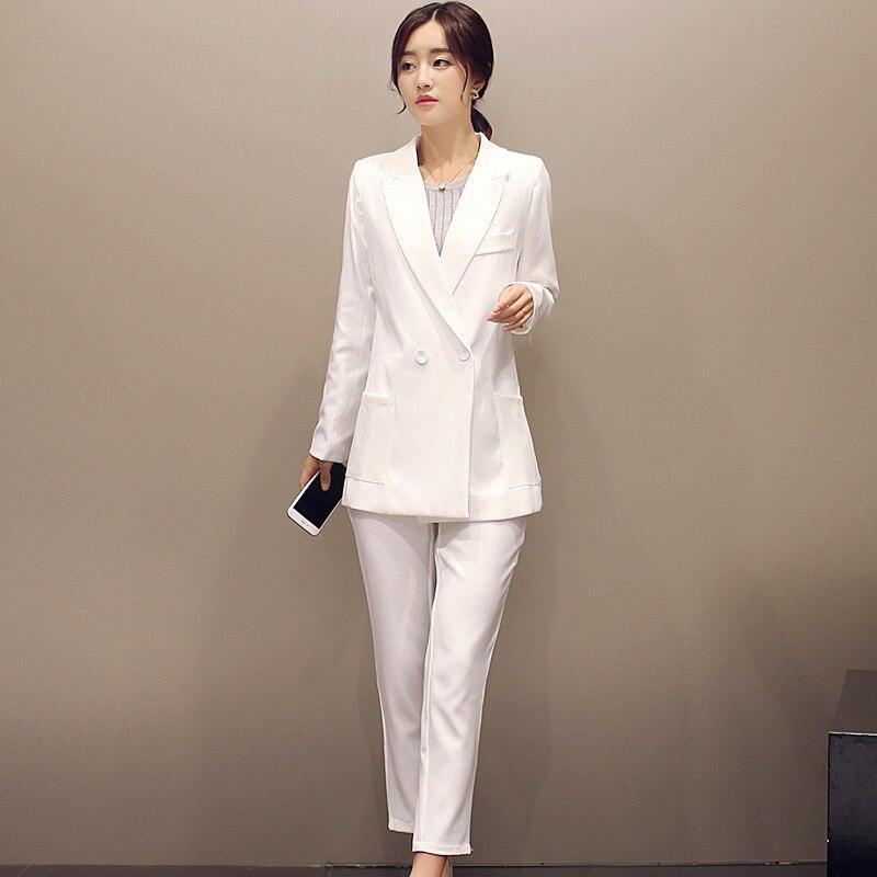 e6eed2b771b Белая длинная куртка комплект из 2 предметов женские деловые костюмы slim  fit офисная форма элегантные Брючные костюмы женские брючные костюмы