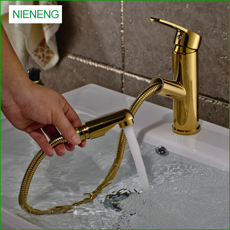NIENENG Big Sale Water Faucet Pull Out Golden Water Tap Bathroom ...