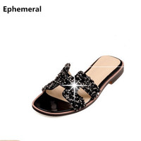 Ladies Bling Crystal Rhinestone Flip Flops Summer Slippers Women Slides Sandals 2017 High Quality Casual Shoes