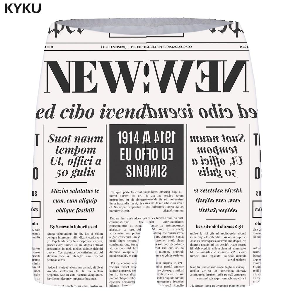 KYKU Newspaper   Shorts   Women Character Vintage   Short   Pants Black And White 3d Printed   Shorts   Casual Anime Ladies   Shorts   Womens