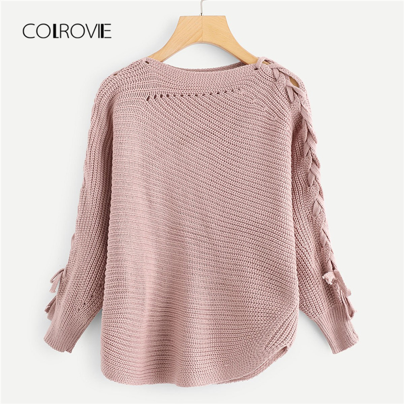 0a53b55230 ... CardigansCOLROVIE Pink Solid Lace Up Long Sleeve Knitted Casual Sweater  Women 2018 Streetwear Pullover Female Winter Jumper Sweaters. Sold Out.  Previous