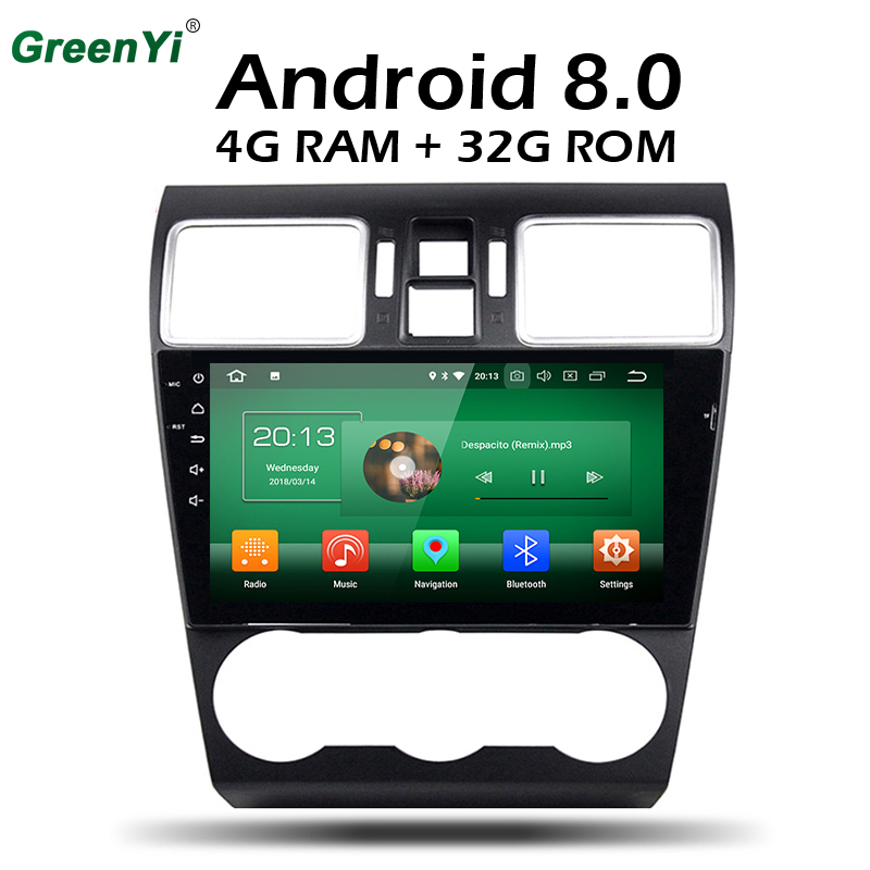 GreenYi 9 inch Android 8.0 8 Core 4G RAM Car DVD GPS For Subaru WRX Forester 2014 2015 2016 WIFI Autoradio Multimedia Stereo 2gb ram 9 android 7 1 2 quad core 4g wifi swc dab rds car multimedia player radio stereo for subaru forester wrx xv 2013 2017