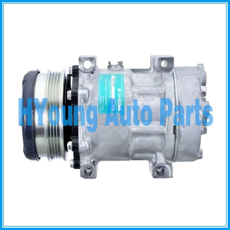 Compresseur de climatisation pour cas New Holland TS110 tracteur 112mm 4pk 12v tampon Horizontal 4040526 Sanden 7H15 SD7H15 6021 814 - 3