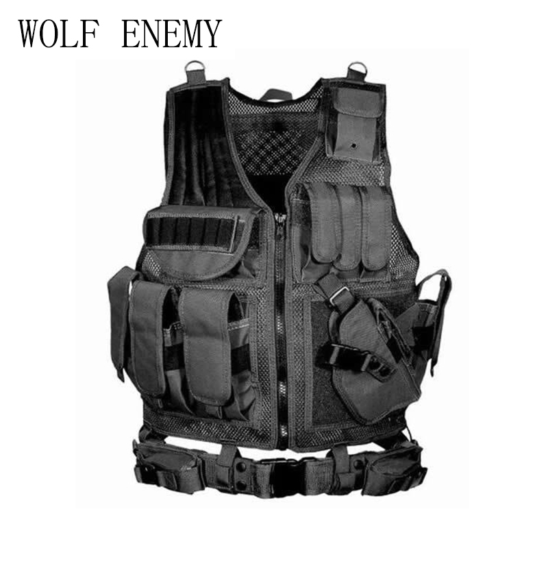 Outdoor Hunting Tactical Vest Police Military Vest Paintball Army Gear Molle Carrier Airsoft Combat Mesh Vest With Gun Holster