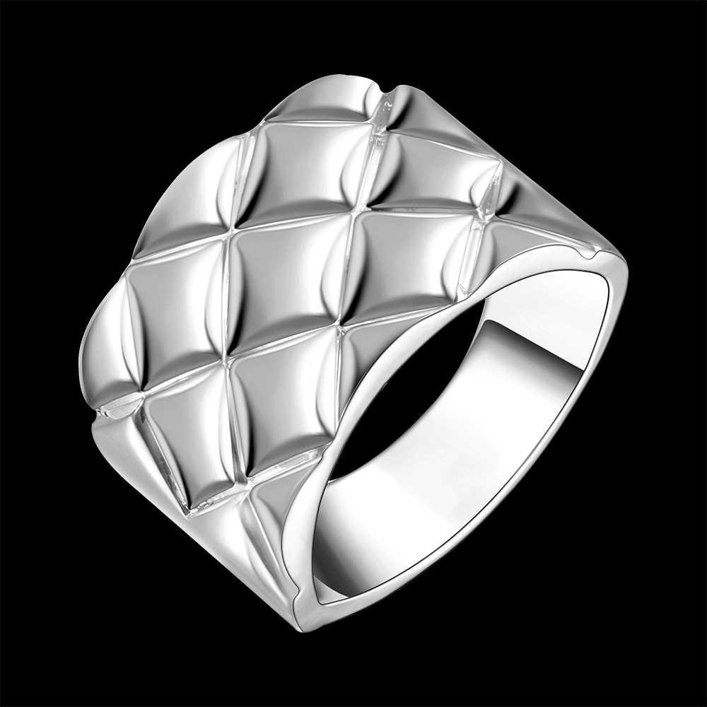 クロス菱形リング卸売銀メッキの指輪、ファインファッションジュエリー、パイナップルストライプシルバー指輪男性アネッリディfidanzamento