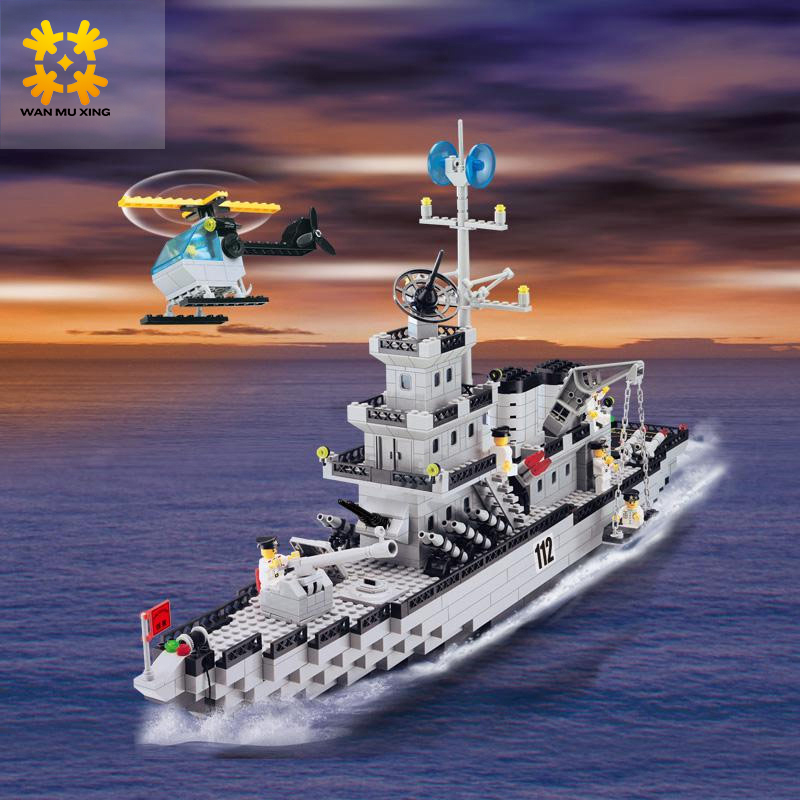 WMX 112 Military Series Plastic ABS Building Blocks Warship Cruiser Helicopter Figures Model for Children Educational Toys enlighten building blocks military cruiser model building blocks girls