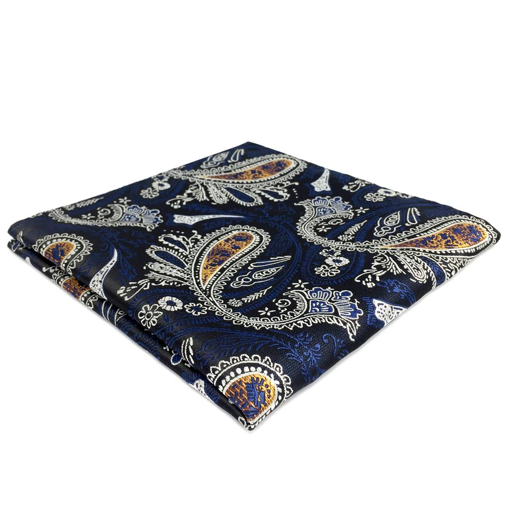 FH13 Blue Paisley Pocket Square Silk Handkerchief Large 12.6