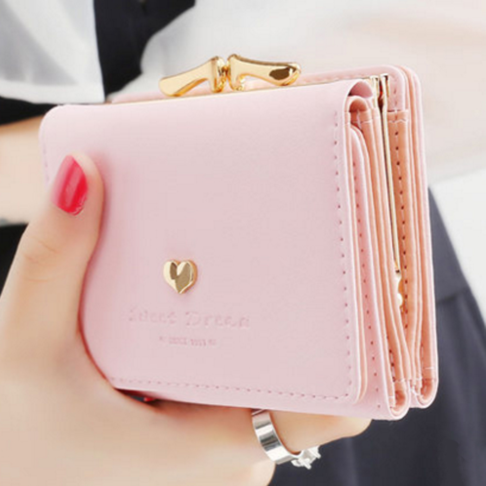 Women Sweet Candy Color Short Wallet Japan And Korean Style Girl Student Simple Wallet Mini Coin Purse Multi-purpose Wallet sweet short sleeve candy color girl s mini a line dress