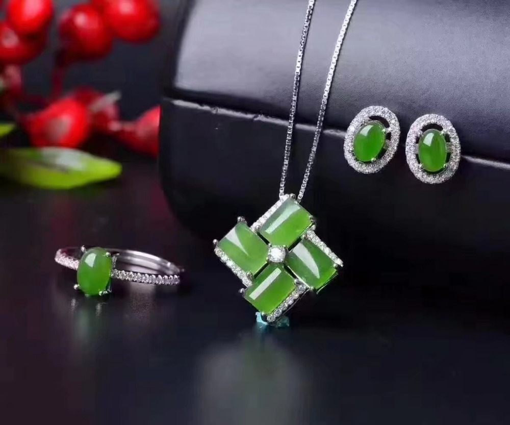 LANZYO 925 sterling silver natuarl green Jasper Jewelry Sets Fine Jewelry Ring Necklace Pendant Earring Women Bridal tz006agbyLANZYO 925 sterling silver natuarl green Jasper Jewelry Sets Fine Jewelry Ring Necklace Pendant Earring Women Bridal tz006agby