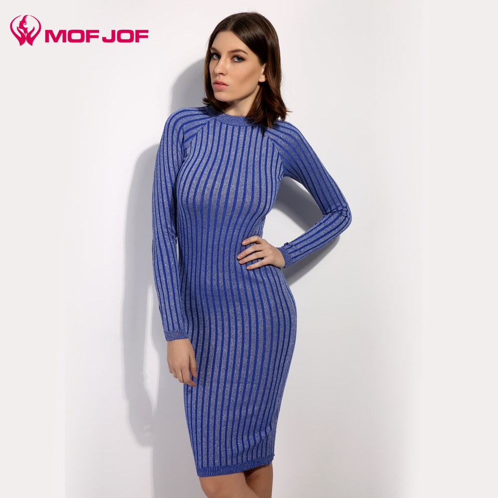 Mujeres sweater dress 2017 primavera otoño brillo de punto larga vestidos ajusta