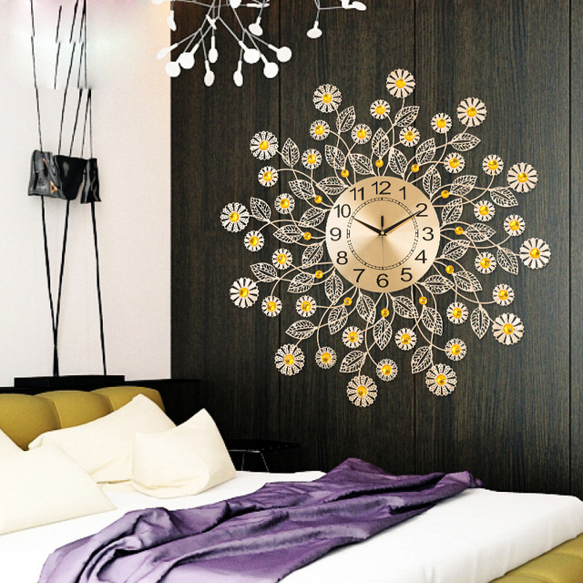 Living Room Clocks Part - 17: Clocks Wall Clocks Home Decor Sun Flower Living Room Creative Golden Metal  Dining Bedroom Decoration Clock