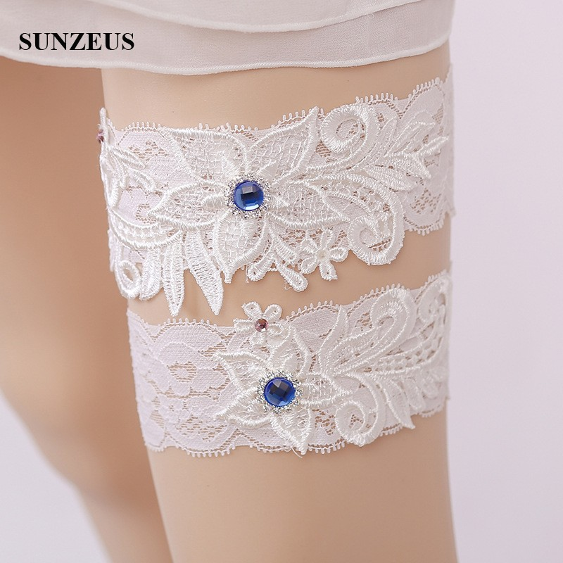 Weddings & Events Fast Deliver Wedding Gloves 2018 Hot-selling Vintage Lace Bridal Leg Garter With Blue Rhinestones Ivory Appliques Wedding Accessories Fi034 Wedding Accessories