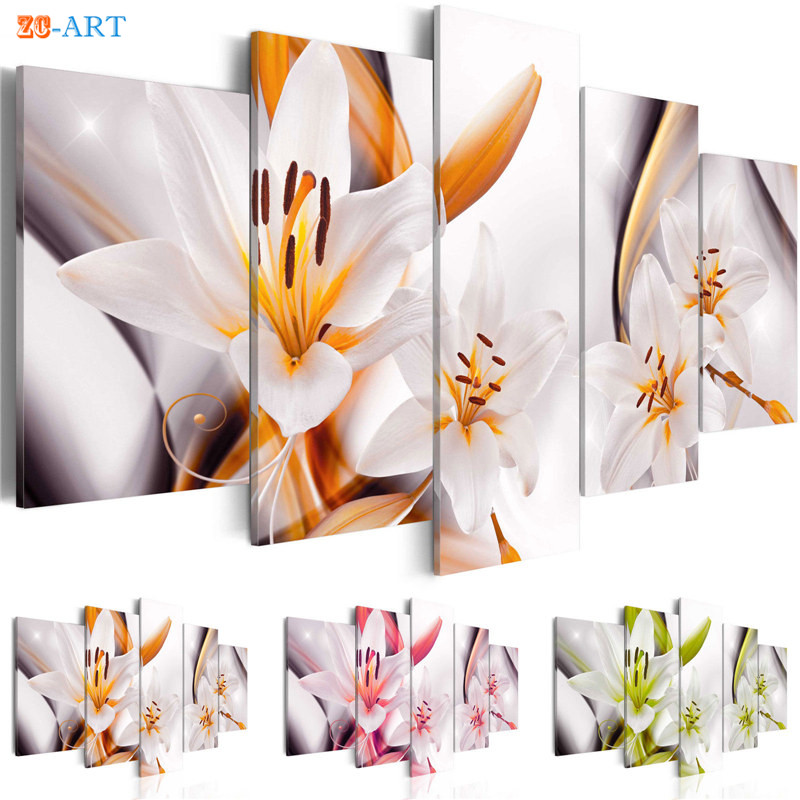 Orange Lilies Blossom Prints Canvas Pianting 5 Pieces Pink and Green Flowers Poster Pastel Wall Art for Kids Room Home Decor ...