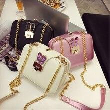 Женская сумка на одно плечо, Повседневная сумка, 3 отделения, корейский стиль, модные кроличьи уши, sculpt, косая сумка на цепочке, Сумка с клапаном