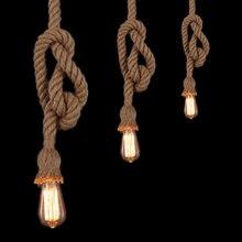 E27 Edison Bulb 18mm Retro Countryside Hemp Rope Lamp Pendant Lights Edison Bulb for Living Room or Cafe Lights
