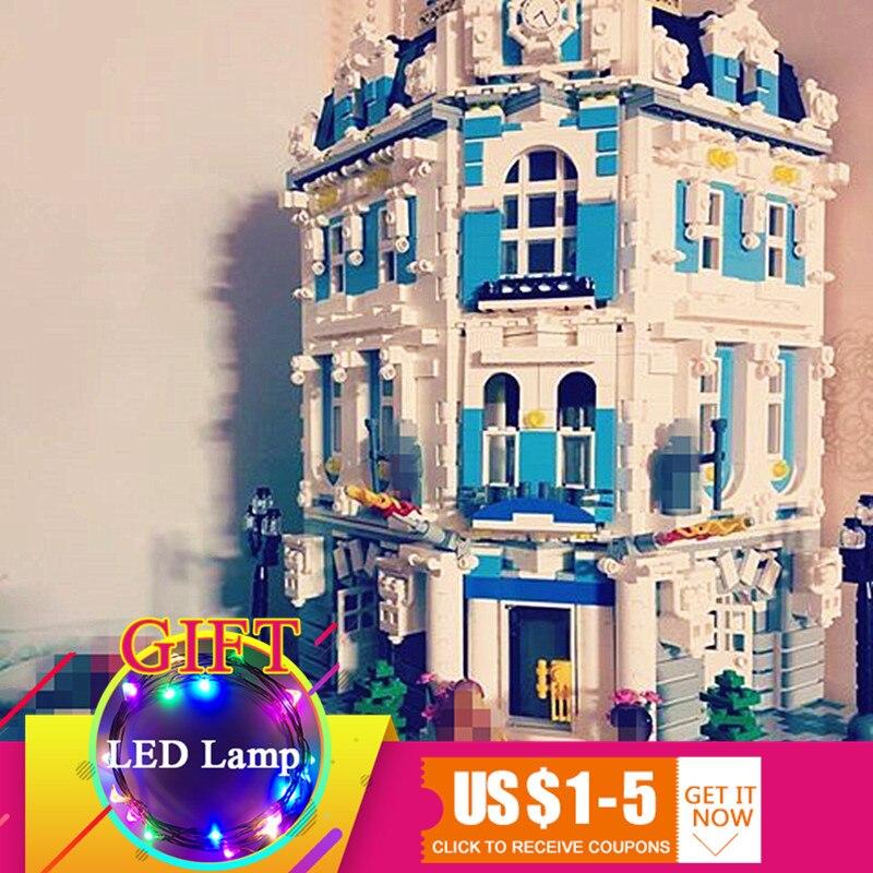 купить 15018 3196pcs City Series The Sunshine Hotel Set Building Blocks Educational Toys DIY Children Gift по цене 6731.75 рублей