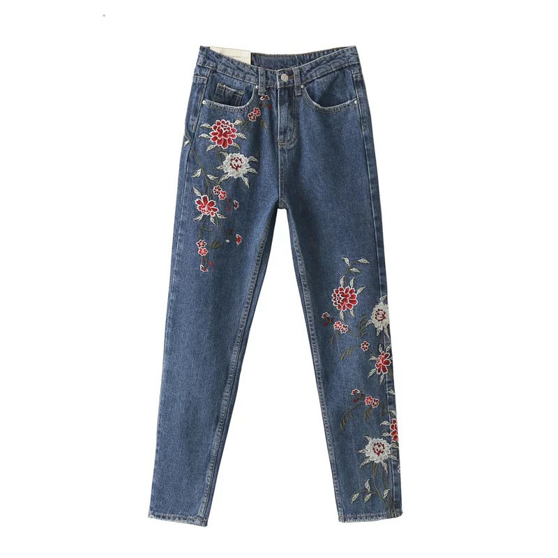 Plus size women blue demin floral embroidery pencil jeans