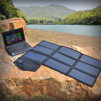 Foldable Portable Solar Phone Charger 60W Solar Laptop Charger For IPhone IPad MacBook Samsung Dell HP
