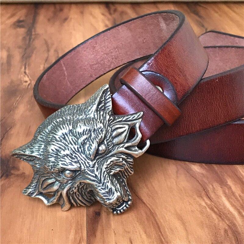 3D Wolf Head Belt Buckle Men Belt Genuine Leather Cowboy Belt Wide Jeans Ceinture Homme Male