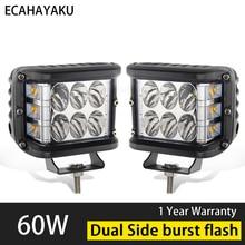 ECAHAYAKU 2x 4 60W Work Light Tri-Row LED Bar Spot Flood Combo Beam Offroad 4x4 for Pickup Camper Trailer 12V 24V