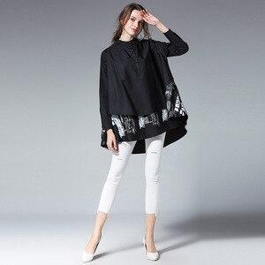 Image 4 - [EAM] blusa holgada de manga larga para primavera y otoño, camisa holgada de color liso con soporte empalmado, talla grande, S05600L, 2020