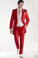 2016 пользовательские Дизайн красный Фрак Жених Смокинги для женихов максимумом нагрудные Best Для мужчин; свадебное платье Пром праздник кост