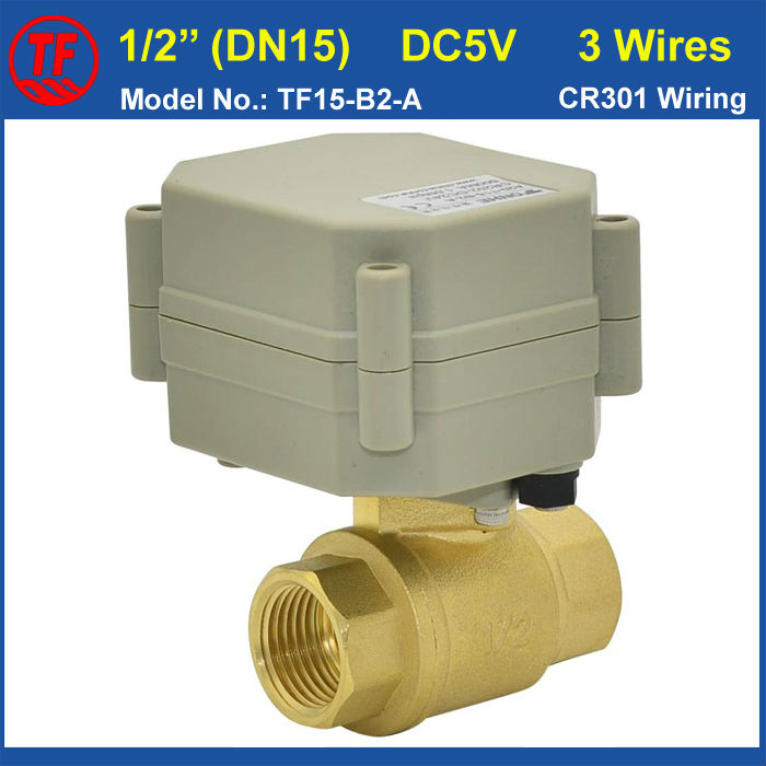 BSP/NPT Female Thread DN15 DC5V 3 Wires 1/2''  Electric Motorized Valve for Water Control Equipment