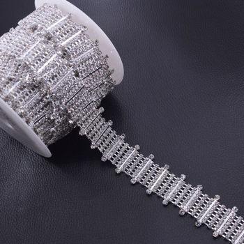 DIY 5Yards Slim 2.8cm Width Bright Silver Plated Crystal Rhinestones Trim for Bridal dress Decorations Rhinestone chain HF-3109