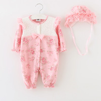 Lace Flower Romper For Newborn Baby Clothes Long Sleeve Baby Romper Headwear 2Pcs Set Girls Clothing