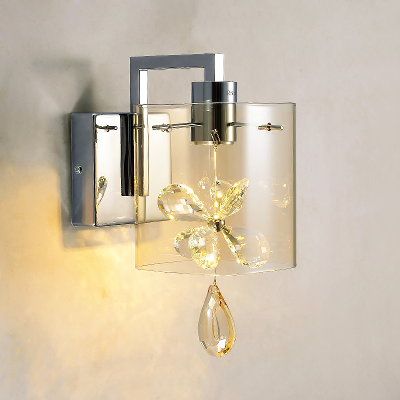 Modern Butterfly Crystal Led Wall Sconces Lights Glass Shade Wall
