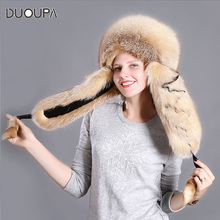 Fox Fur Hat Winter Ear Protection thick northeast ski cap Leifeng hat