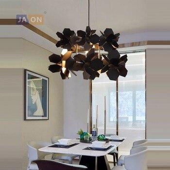 LED e27 Postmodern noir blanc feuilles de fer lampe à LED lumière LED. suspension. suspension. suspension pour salle à manger Foyer