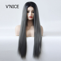 V'NICE Straight hair TB/Dark Grey Color Glueless Synthetic Lace Front Wigs for Black Women Straight Heat Resistant Fiber