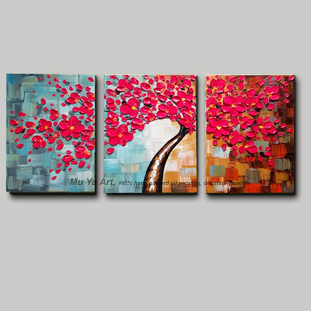 3 Piece Canvas Wall Art With Red Wall Picture Modern Flower Colorful  Acrylic Floral Painting On