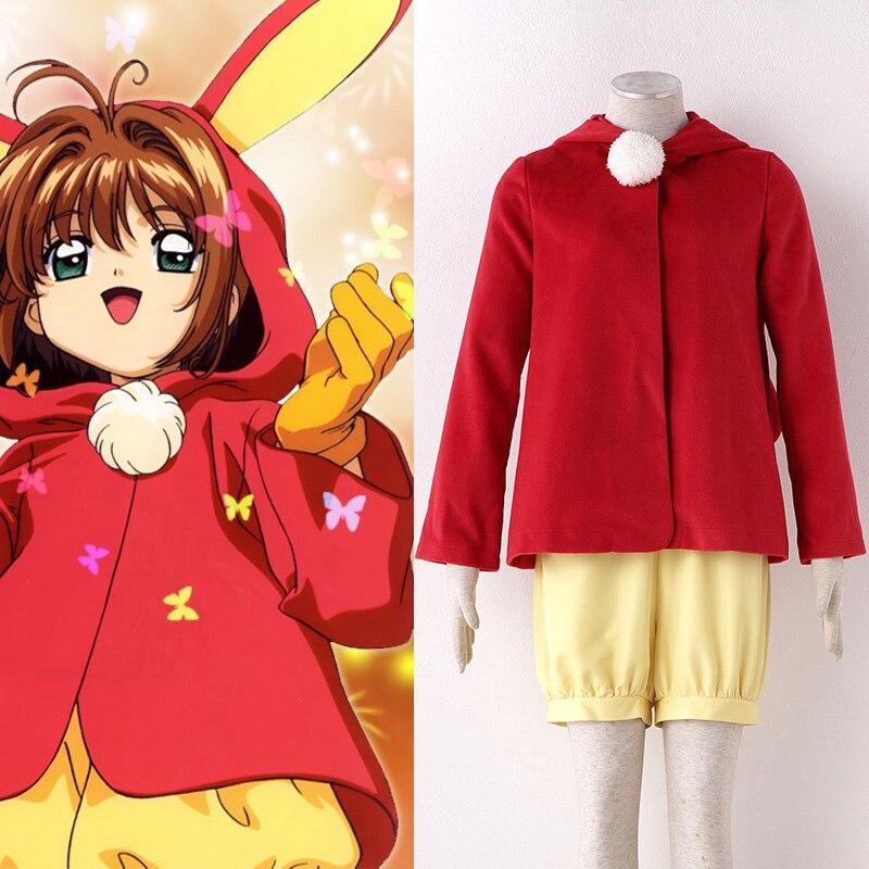Japense Anime Cardcaptor Sakura Kinomoto magie Cosplay Costume ensemble Hoodies uniforme tenue mignon lapin manteau épais et short