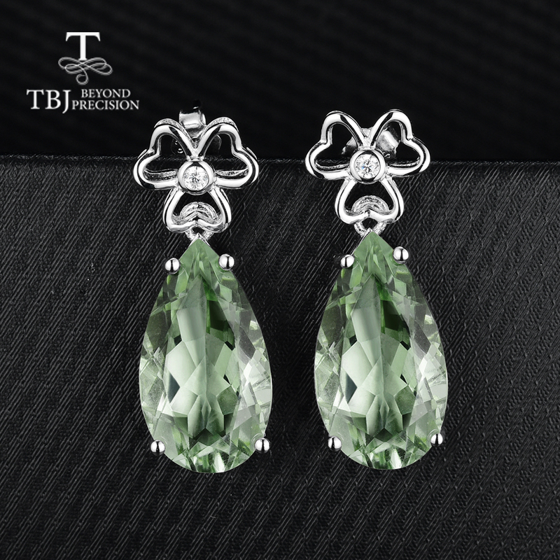 TBJ, grandes boucles d'oreilles avec améthyste verte naturelle en argent sterling 925, bijoux fins pour femmes et filles avec boîte cadeau-in Boucles d'oreilles from Bijoux et Accessoires    2