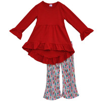 New Year Girls Party Wear Outfits Red Ruffle Tops and Pants Boutique Children Clothing Sets for Christmas C009