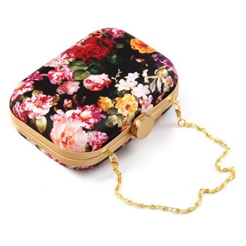 Black Wallet Chain | Fashion Womens Party Clutch Purses Wallets Pu Leather Vintage Printed Evening Bag Chain Shoulder Handbag Mini Bag Day Clutches