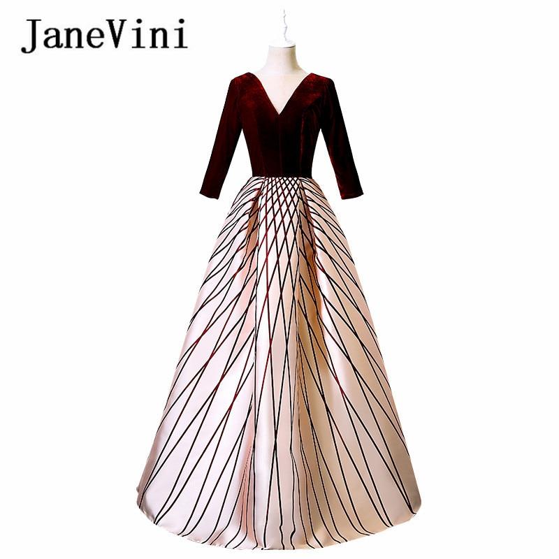 JaneVini 2018 Vintage Burgundy Velvet Long   Bridesmaid     Dresses   for Wedding 1/2 Long Sleeve V-Neck Backless Formal   Dress   Prom Wear